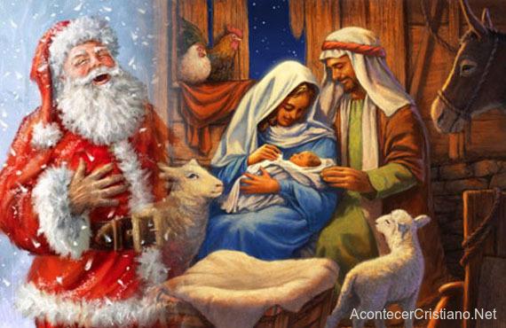 Santa Claus visita el nacimiento de Jesús