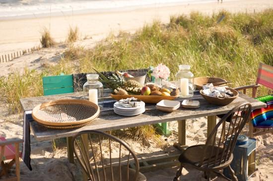 almoço na praia