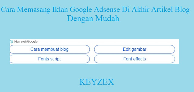 Cara Memasang Iklan Google Adsense Di Akhir Artikel Blog