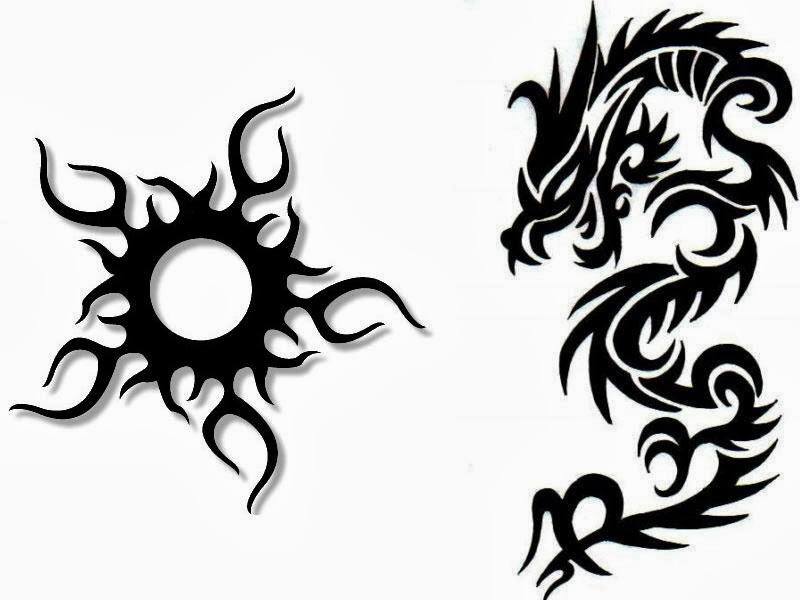 Dragon with sun tribal tattoo stencil