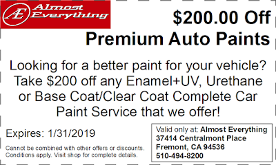 Discount Coupon $200 Off Premium Auto Paint Sale January 2019