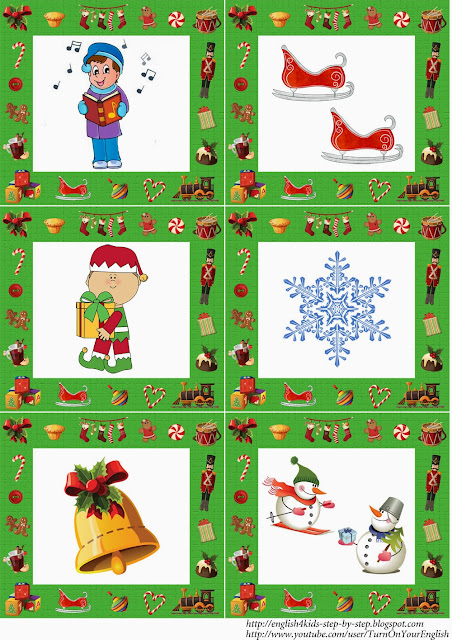 English christmas flashcards for children