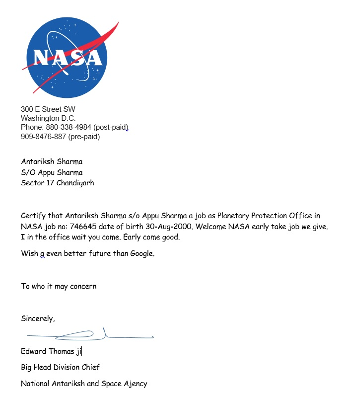 Chandigarh boy appointed planetary protection officer by nasa looks legit the offer letter antariksh got spiritdancerdesigns Images