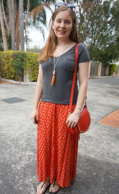 red boho printed maxi skirt charcoal grey v neck tee saddle bag spring SAHM Style | awayFromBlue