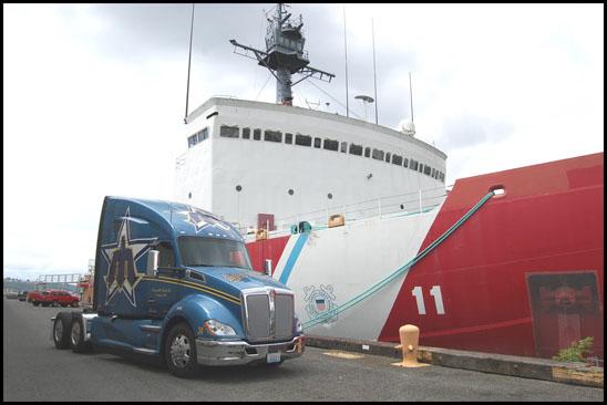 Kenworth T680 Advantage with US Coast Guard Ship