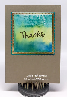 Linda Vich Creates: Watercolor Blocks Thank You Cards. Watercolor hues reminiscent of tropical beaches are the focal point of these quick and easy thank you note cards that use the Thankful Thoughts stamp set.