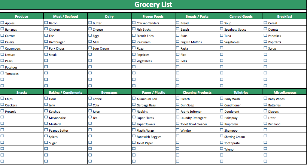 Shopping List Template free printable grocery list templates and – Grocery Template