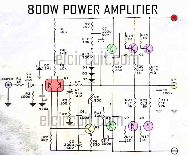 800W Power Amplifier Circuit - Electronic Circuit