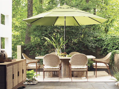 Wicker patio dining set by Tommy Bahama