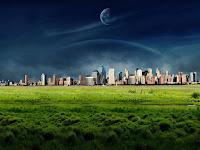ciudad con luna