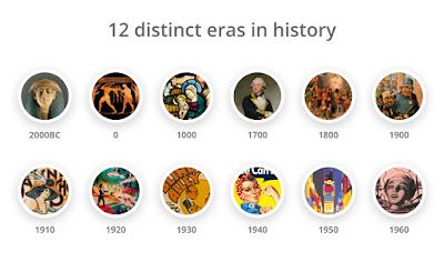 Color Leap, los colores utilizados en 12 épocas distintas de la historia, que abarcan 4000 años