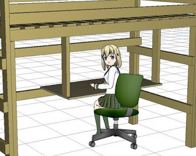 ロフトベッドに机を付けた様子
