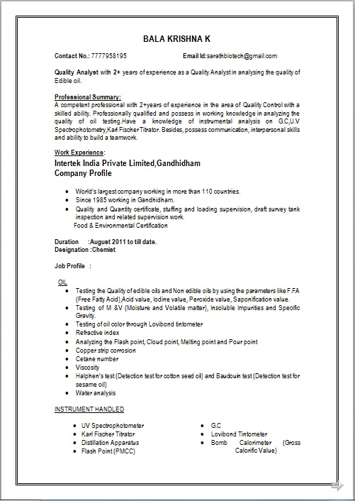 quality control experience resume