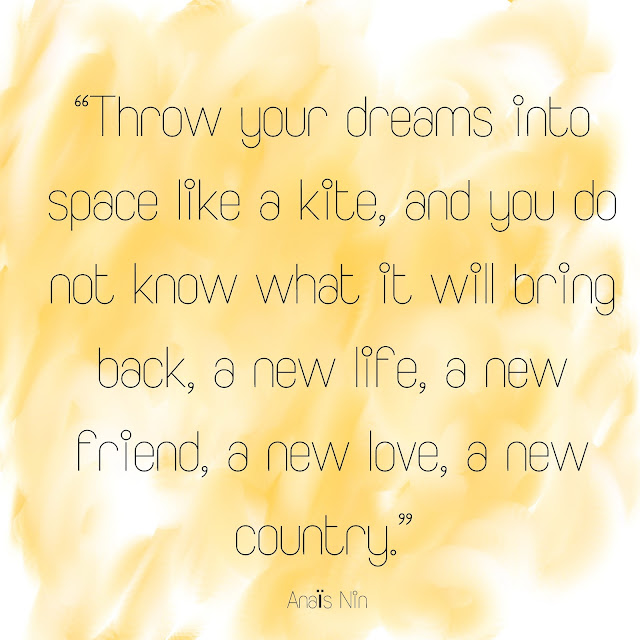 Throw your dreams into space like a kite, and you do not know what it will bring back, a new life, a new friend, a new love, a new country. Anais Nin