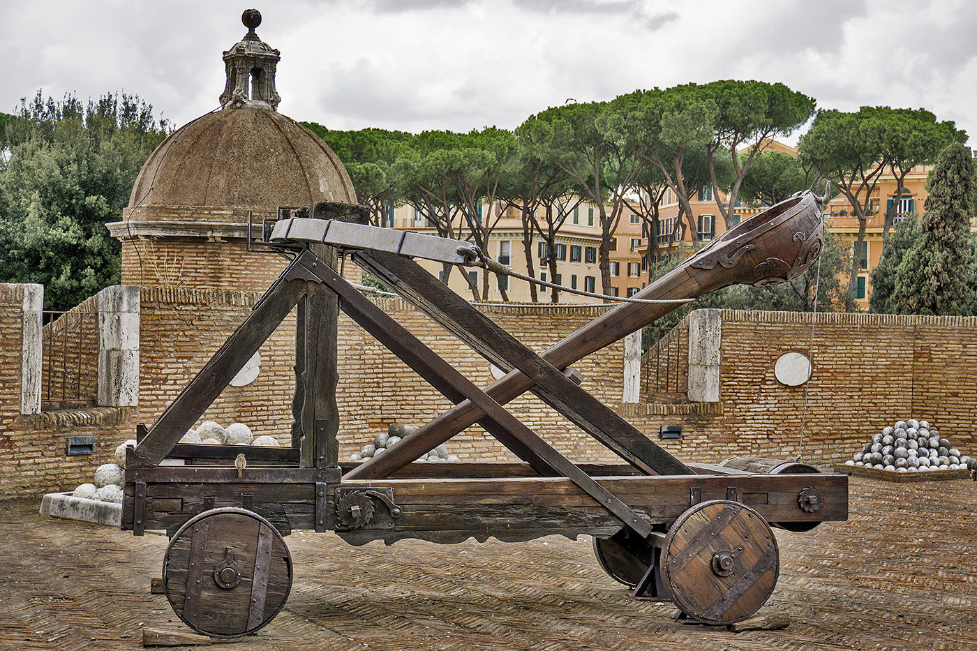 Catapult inside Castel Sant'Angelo in Rome, Italy