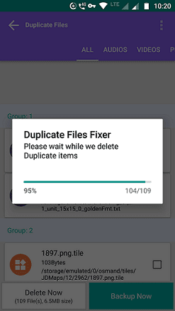 Removing duplicate files
