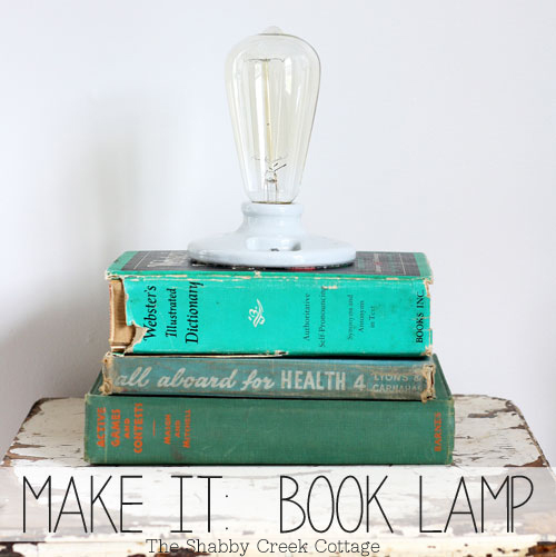 this stacked book lamp is a creative DIY that makes use of old books