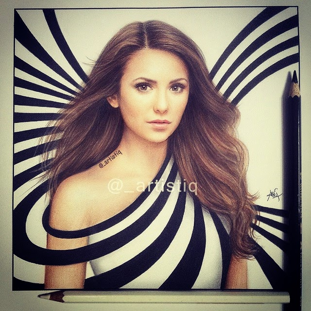 03-Nina-Dobrev-Cas-_artistiq-Colored-Celebrity-and-Cartoon-Drawings-www-designstack-co