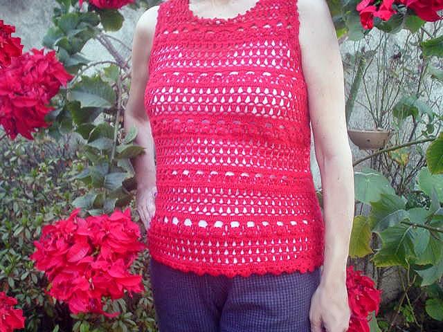 blusa vermelha crochet