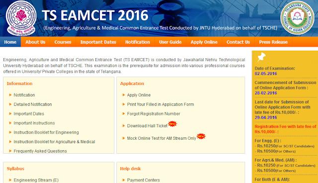 TS Eamcet Exam 2016