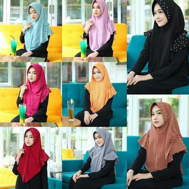 Jilbab Instan FARRA Pearly MUTIARA Terbaru Elegan Syari Warna Cantik