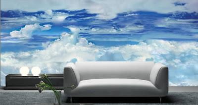 molntapet fototapet moln himmel fondtapet vardagsrum