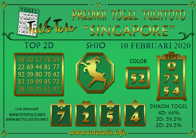 Prediksi Togel SINGAPORE TULISTOTO 10 FEBRUARI 2020