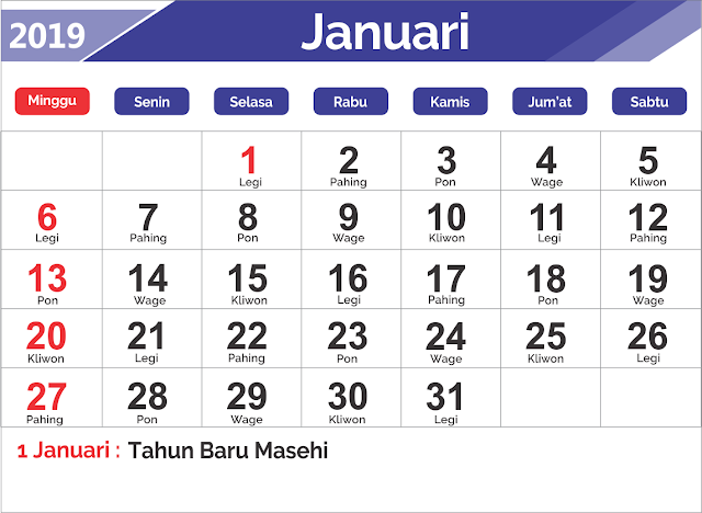 Download Template Kalender Jawa 2019 Dan File CDR,PDF Gratis