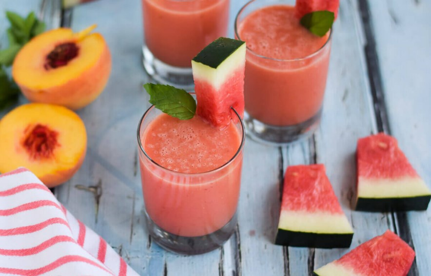 Watermelon Peach Smoothie #drink #smoothies