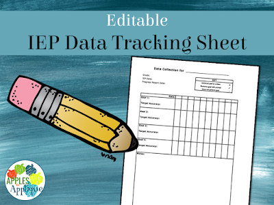 Editable IEP Data Tracking Sheet | Apples to Applique