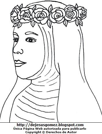 Dibujo del rostro de Santa Rosa de Lima original para colorear o pintar  (Reconstrucción facial de Santa Rosa de Lima) . Imagen de Santa Rosa de Lima hecho por Jesus Gómez
