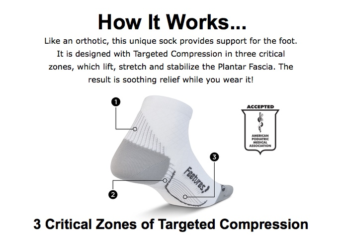 5842549192 I went by my local running store and picked up a pair of Feetures Quarter  Plantar Relief Socks ($30). They are a very compressive running sock with  powerful ...