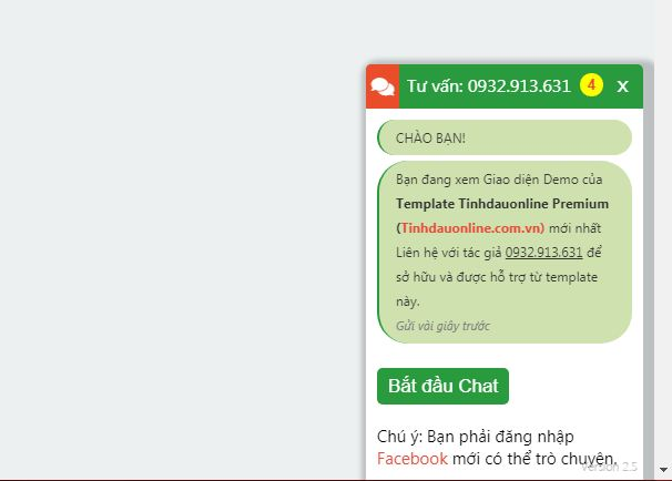 Code Livechat Facebook cho Template Tinhdauonline 2018