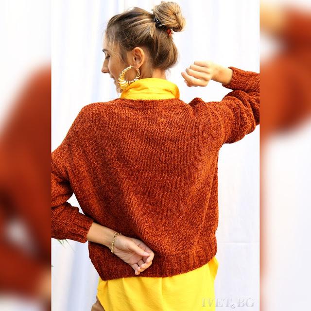 Μοντέρνο γυναικείο πορτοκαλί πουλόβερ BERNIE ORANGE
