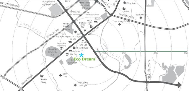 Vị trí đắc địa Eco dream city trong khu đô thị Tây nam Kim Giang