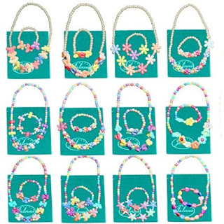Jalousie 12 Sets Deluxe Girls Party Favor Jewelry Collections of Necklace and Bracelet-Great gift for Daisy leaders to give their girls.