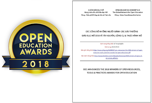 OEC công bố những người giành các giải thưởng Giáo dục Mở 2018 về TÀI NGUYÊN, CÔNG CỤ & THỰC HÀNH MỞ