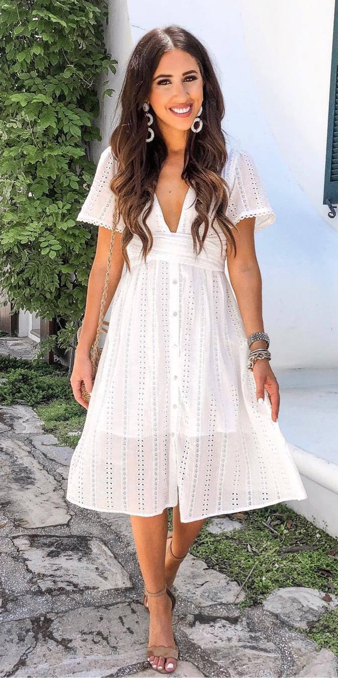 simple summer outfit / white midi dress + heels + bag