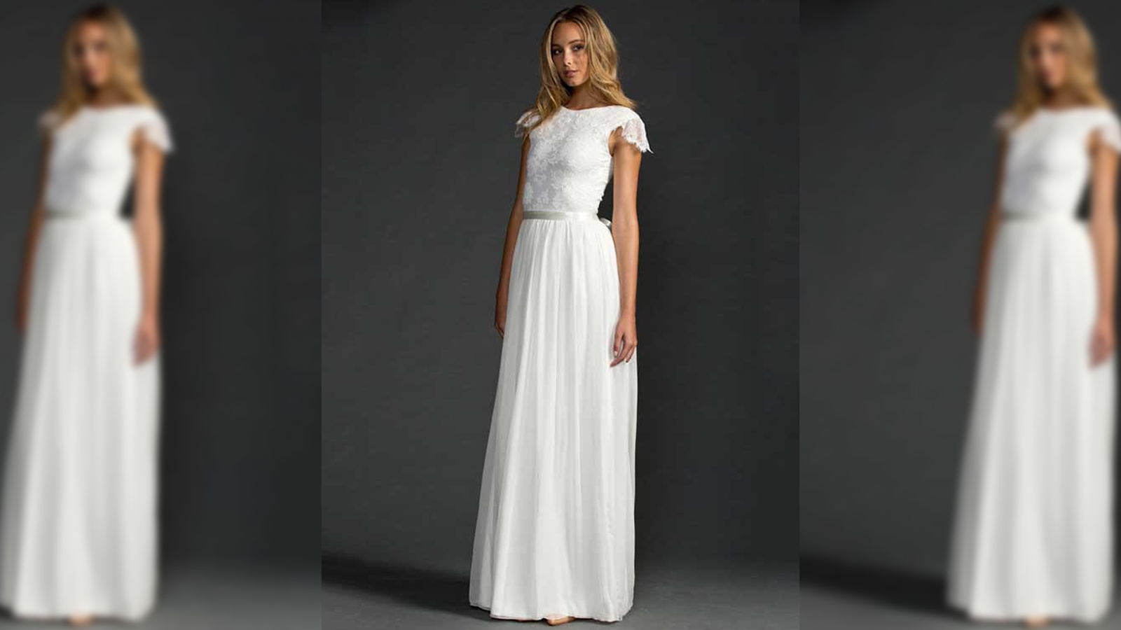18628197af32 A-Line Scoop Neck Lace Chiffon Sweep Train Beading Wedding Dress How simple  yet beautiful? What I like about this the most is the shoulder detailing,  ...