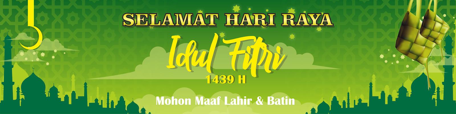 Contoh Desain Banner Mubarak Eid Idul Fitri 1439 Hijriyah Cuitan