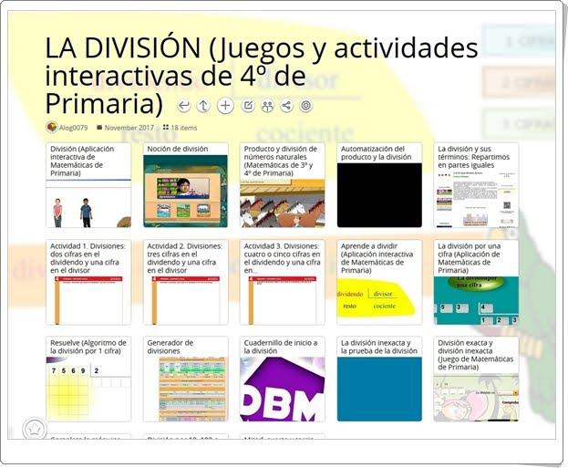 """""""22 Actividades interactivas para el aprendizaje de LA DIVISIÓN en 4º de Primaria"""""""