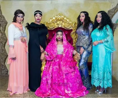 Photo of Alaafin Oyo's three youngest wives and their friends