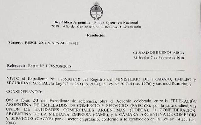 Empleados de Comercio se homologó del Acuerdo enero 2018