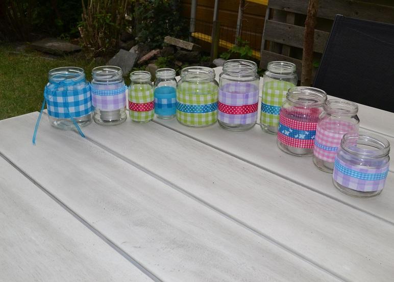 Vaak Stipjes en datjes: Tutorial glazen potjes decoreren met stof en lint &HB58