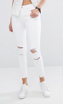jean blanc skinny déchiré mango