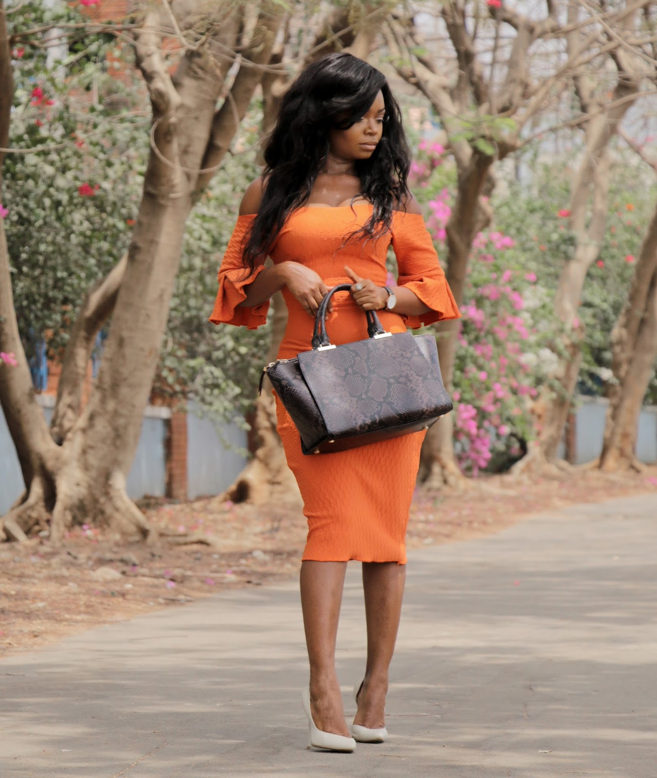 THE FLYGERIAN -  Snake Print Bag from The Flygerian and Orange Dress from Kitau with Boohoo court shoes