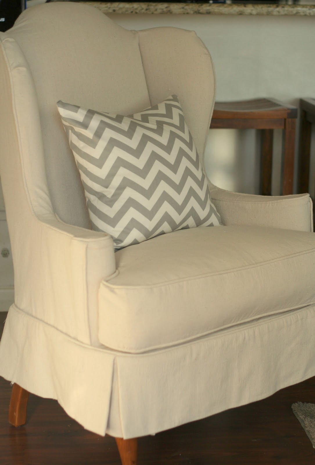How To Make Slipcover For Wingback Chair Handmade Adirondack Chairs Custom Slipcovers By Shelley Drop Cloth