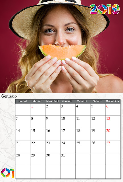 Calendario 2019 mensile, completo di copertina