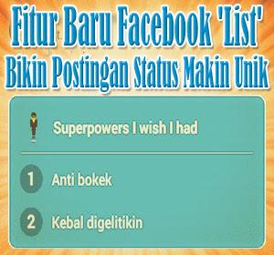 Fitur Baru Facebook 'List' Bikin Postingan Status Makin Unik