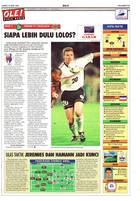OLIVER BIERHOFF GERMANY VS YUGOSLAVIA WORLD CUP 1998